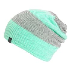 700fb092dec A trendy mint and grey rugby stripe pattern covers this slouch fit beanie  made with a
