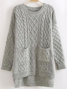 Grey Round Neck Dip Hem Cable Knit Pockets Sweater