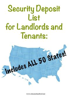 Security Deposit List for Landlords and Tenants: Includes ALL 50 States - The Reluctant Landlord Investment Property For Sale, Income Property, Property Investor, Real Estate Investor, Real Estate Marketing, Investing In Rental Property, Income Tax, Landlord Tenant, Being A Landlord