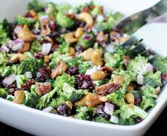 Classic Broccoli Salad ~ Combine 1 head chopped broccoli, 1/4 cup chopped red onion & 1/2 cup raisins. In a small bowl, whisk together 3 Tbsp white wine vinegar, 2 Tbsp sugar & 1 cup mayonnaise. Pour over broccoli mixture, & toss until well mixed. Refrigerate for at least 2 hours. Before serving, toss salad with 10 slices crumbled bacon & 1 cup sunflower seeds or cashews.