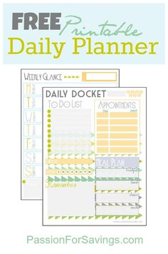 This Free Printable Daily Planner is available to you to download here. You can print out one or all of the sheets, there is also a Free Budget Planner available and a Free goals worksheet to help you get organized for the new year!