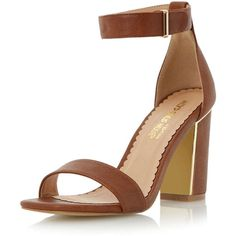 Dorothy Perkins Head Over Heels Mushu Square Toe Sandal (£25) ❤ liked on Polyvore featuring shoes, sandals, heels, low heel, brown, brown heel sandals, block sandals, low heel shoes, color block sandals e ankle tie sandals