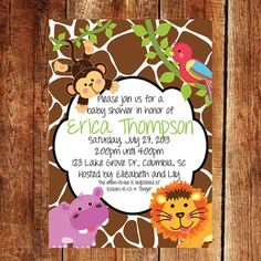One two or three monkey baby shower invitations Design online