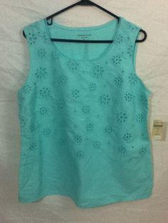 NWT Coldwater Creek Aqua Turquoise Blue Eyelet Embroidered Shirt Top Sz XL  #ColdwaterCreek #KnitTop #Casual