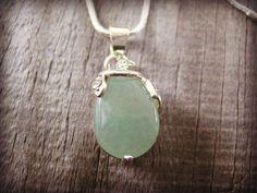 Green Aventurine Gemstone Necklace Pendant Necklace Teardrop Pendant Rhinestone Silver Plated Silver Chain Necklace New Age Necklace #bestofEtsy #etsyretwt