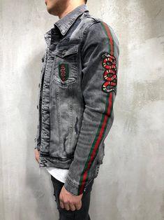 "Men Stylish Denim ""Need Money, Not Friends"" Ripped Jacket - Washed Black 4037 Denim Jacket Patches, Denim Jacket Men, Denim Coat, Denim Shirt, Jaket Jeans, Streetwear Jeans, Boys Winter Jackets, Estilo Jeans, Painted Denim Jacket"