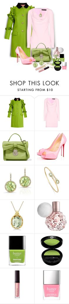 """""""Green & Pink"""" by onesweetthing ❤ liked on Polyvore featuring Gucci, Versace, RED Valentino, Privé, Anne Sisteron, Allurez, Giorgio Armani, Laura Mercier, Butter London and Smith & Cult"""