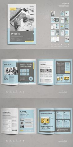 This is a modern and powerful template for a Proposal. Graphic Design Magazine, Graphic Design Brochure, Magazine Layout Design, Brochure Layout, Brochure Template, Business Proposal Template, Business Plan Template, Proposal Templates, Creative Brochure