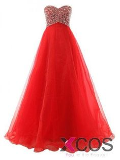 Ball Gown Sweetheart Floor-Length Chiffon Lace-up Red Long Prom Dress With Beading