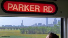 The Trinity River Bottoms... and the Dallas Skyline view from the DART Blue Line... ZOOMING north... Memorial Day 2013 .. BlingBlinky.com