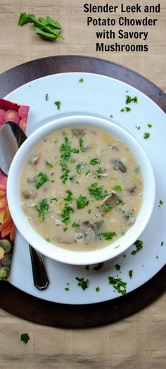 Chunks of creamy potato with tender slices of mushroom turn this hearty leek and potato chowder into a warming winter meal. (Sponsored by Swiss Villa Farms)