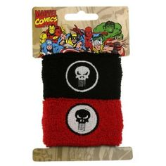 $10.00+ S/H from #TheSingingSpaniel's #BridalGifts and #Collectibles - #Punisher #Skull #Logo #Terry #Cuff #Wristband -  #Black & #Red with #Logo - #Athletic #80's #Style #Sweatband - #Frank #Castle #Antihero #Stretch #Terri #Cloth #Bracelet - #Officially #Licensed from #Marvel #Comics by #JewelM! - #Macabre and #dark, #Avengers #Death #Dealer, the #toughest #good #guy - GREAT for your #Halloween #costume, #SDCC and #cosplay #events, and #fanboys #geeks, #freaks, and #NERDS! ...and even…