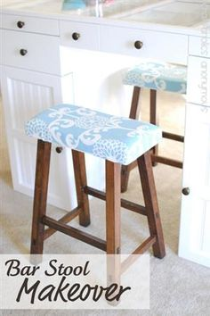 """Easy Bar Stool Makeover -- I upholstered them using this easy upholstering tutorial. {after adding upholstery to my dining room chairs, i got into an """"Upholstery Kick"""" and did these stools and a bench last fall} I used 1″ thick foam and some quality home decor fabric made by Waverly in a modern floral print."""