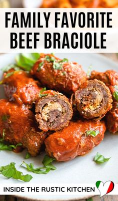 Beef Braciole - Family Favorite! Beef stuffed with cheese and prosciutto and cooked in an incredible tomato sauce. #braciole #Italianrecipes Italian Risotto Recipe, Italian Dinner Recipes, Risotto Recipes, Italian Dishes, Beef Braciole, Braciole Recipe, Italian Stew, Grilled Vegetables, Meals For Two
