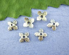 40 Antique Silver 4 Petal Leaves Bead End Caps 6mm  by SmartParts, $3.29