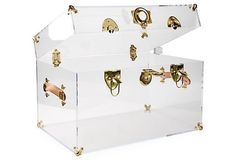 Payton Acrylic Trunk, Brass/Clear   Wild at Heart   One Kings Lane