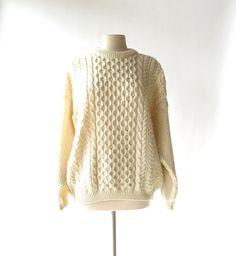 chunky cream wool Scottish fisherman style sweater