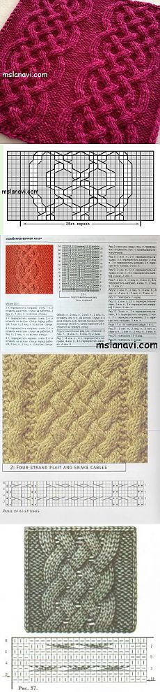 Cable chart pattern Рельефный узор спицами №18   Вяжем с Ланой