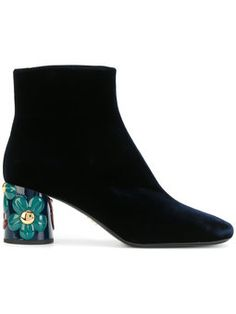 floral heel ankle boots