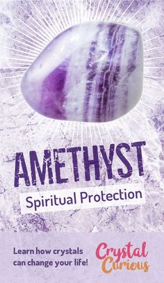 Amethyst Meaning & Healing Properties. Amethyst is a commonly available purple variety of quartz. It protects through purifying negative energy, clearing energetic distractions and supporting clarity in intuitive work. Learn about healing crystals and gemstones for beginners at CrystalCurious.com | Energy healing, chakra stones, energy crystals, crystal therapy, crystal meanings. | #crystalhealing #crystals #gemstones #energymedicine #energyhealing #newage #witchcraft