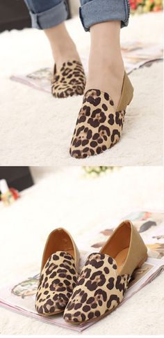 Flat Shoes With Leopard Print