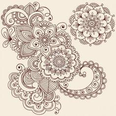 Hand Drawn Intricate Abstract Flowers And Mandala Mehndi Henna Tattoo Paisley Doodle Illustration