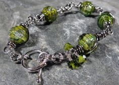 Peridot Green Unicorne Lampwork Beads and by PattiVanderbloemen, $55.00