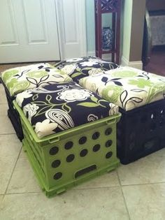 THESE CRATES ARE AT WALMART RIGHT NOW.   Make crates into seats-with storage inside. Great idea for kids rooms
