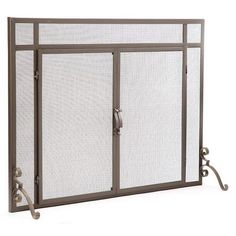 """Plow & Hearth - Flat Guard Fire Screens With Doors In Solid Steel, 44""""W X 33""""H, Bronze : Target Stone Fireplace Surround, Mesh Screen, Blacksmithing, Hearth, Screens, Target, Bronze, Doors, Flat"""