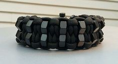 Custom Double Hex Nut Paracord Bracelet With Black Adjustable Shackle