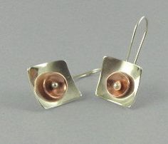 Summer Solstice  earrings in Sterling and Copper. By LillieRainDesigns.  Handcrafted by jewelry artist Lynn Cunningham in interior Alaska.