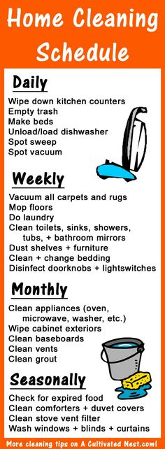 9 Clever Tips for Keeping Your House Clean in Minutes a Day- Use this home cleaning schedule infographic to break up your cleaning into manageable parts! More tips on A Cultivated Nest!