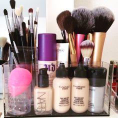 Makeup storage | makeup brushes | beautyblender | mac foundation | mac face and body | mac fix plus | Nars sheer glow |