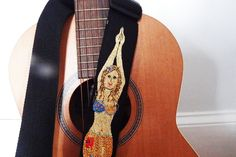 The Mermaid  Guitar Strap Custom Klimpt Style Hand by Meoneil