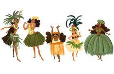 Hula Girls by ~dinglehopper on deviantART Hawaiian Girls, Hawaiian Dancers, Vintage Hawaiian, Polynesian Dance, Polynesian Culture, Character Art, Character Design, Character Reference, Dancer Drawing
