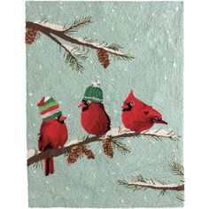 Cardinals in Caps Hooked Rug