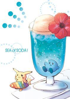 Sea of Soda Kirby and Pikachu via Pixiv