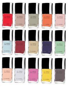 my-favorite-chanel-nail-polish-colors samantha hahn illustration found via designlovefest Chanel Nail Polish, Chanel Nails, Nail Polish Art, Nail Polish Colors, Nail Art, Nail Polishes, Manicures, Coco Chanel, Chanel Art