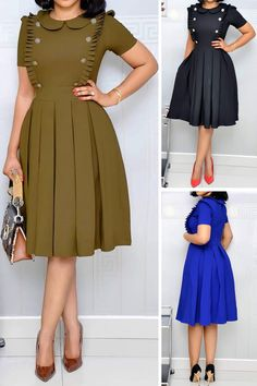 Stringy Selvedge Pleated Plain Fashion Plain Women's A-Line Dress dress Source by tidebuyofficial fashion summer Cute Dress Outfits, Classy Outfits, Chic Outfits, Cute Dresses, Cheap Dresses, Latest African Fashion Dresses, African Dresses For Women, Women's Fashion Dresses, Fashion Styles