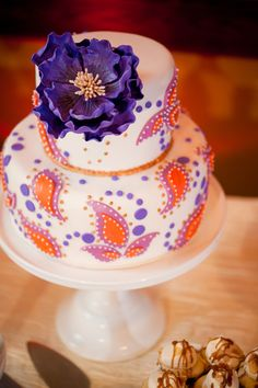Colorful Paisley Two-Tiered Little Cake