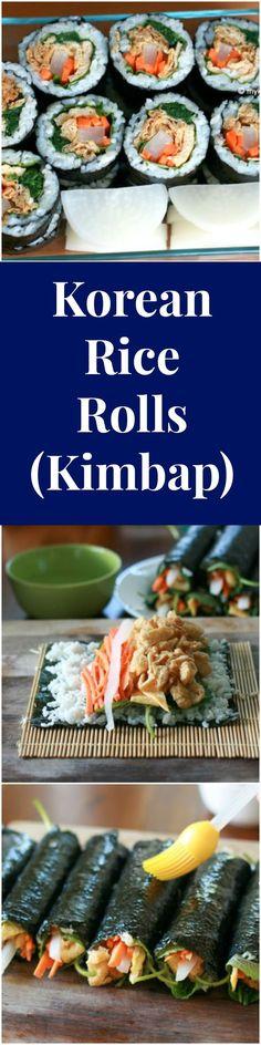 Korean Rice Rolls (Kimbap) with Seasoned Deep Fried Tofu Pouches. Super delicious! | MyKoreanKitchen.com