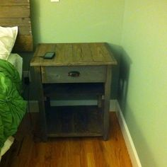 Nightstand I made from barn boards.