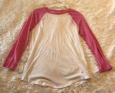 Womens VICTORIAS SECRET Pink White Baseball Tee Shirt 3/5 Sleeves XS Cotton Top #PINK #KnitTop