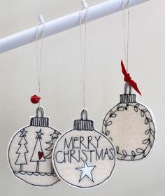 Three Wool Felt Christmas Baubles - Hanging Decorations