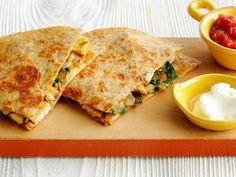 Get Easy Chicken-Mushroom Quesadillas Recipe from Food Network