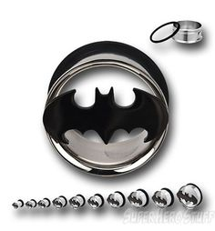 Batman 316L Surgical Steel Tunnel Plugs... I WANT no need these.. nanananana batman