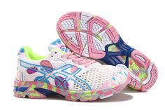 Asics Gel Noosa Tri 7 Womens Running Shoes White White Pink Volt Asics  Running Shoes,