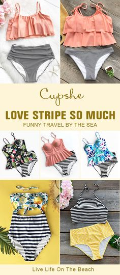 Calling all the trendsetting beach babes: Try your favourite stripe printing swimsuits from Cupshe! Start from $10.99! Halter design & soft fabric & tank top & one-piece style and free shipping. Pick some of them and be the star of the beach!
