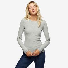 Essential Rib Long Sleeve T, Heather Grey