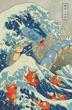 zimmay: The Great Wave off Kanto by zimmay // Prints // Redbubble Based on the famous woodblock print The Great Wave off Kanagawa by Hokusa...